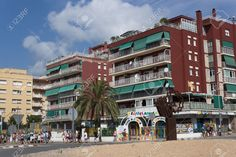 CALELLA, SPAIN - JULY 19, 2013 Streets Of Calella On July 19,.. Stock Photo, Picture And Royalty Free Image. Pic 21487218.