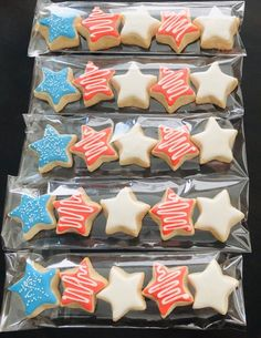 4th Of July Desserts, Fourth Of July Food, 4th Of July Party, July 4th, Star Sugar Cookies, Sugar Cookie Royal Icing, American Flag Cookies, Memorial Day Foods, Holiday Snacks