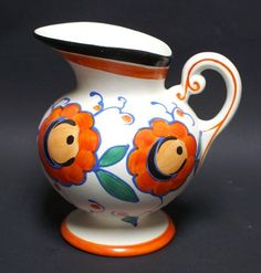 Pottery Czech Pitcher Ditmar Urbach (T) - Teplice,  Hand painted, cca 18cm,