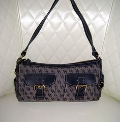 'Dooney & Bourke Blue Signature Two Pocket Bag w/ Leather Trim' is going up for auction on Tophatter.