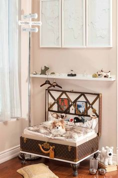 I love this small, but stylish space created especially for the well travelled pooch. The legs could be removed, tucked inside and the trunk bed can be closed for easy travel and the garment pocket is the ideal space for toy storage. I would use the picture rail above to showcase pictures of you and your pooch on your travels. @GoPetFriendly.com.com
