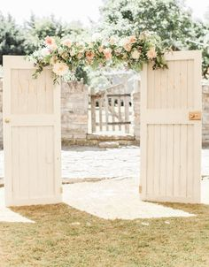 Barn Doors Wedding decor | Almonry Barn South West Wedding Venue | Romantic Wedding Decor | Pink Colour Scheme | Penoy & Rose Floral Displays | Cake Table | Naomi Kenton Photography | http://www.rockmywedding.co.uk/louise-paul