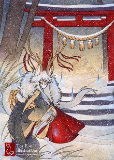 La porte du sommet / Deer Kirin Yokai esprit / Japanese Style asiatique / 5 x 7 Fine Art mat Print