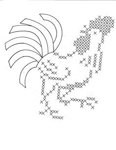 Hand Embroidery Pattern Design 615 Roosters for by BlondiesSpot