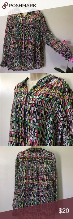 Liz Claiborne Button-up Blouse Fun, sheer button up. Comes with a black tank top attached underneath. Excellent condition. 100% Polyester Liz Claiborne Tops Button Down Shirts