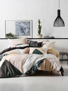 LINEN HOUSE MARQUETRY quilt cover set.   Marble, minerals, blush, teal, geometric, bedding.