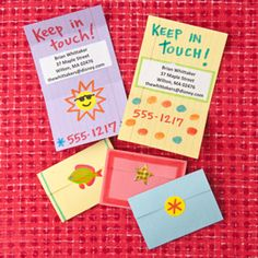 Buddy Business Card-- Cards printed with contact information aren't just for grown-ups. This simple, DIY version — for passing out on the last day of school — can help little ones stay connected during the summer months.
