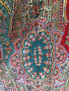 Antique Civil War or before Paisley Shawl 1850s 1860s . Victorian Hand Woven Hand Tied Fringe Throw . Wool Mix Red Green Paisley Print . Antique Linen Mid 1800s Collectible Design ... These Antique shawls are getting harder and harder to find! This one has a paisley Middle Eastern Design in red, green and gold edged in brown with brown hand knotted fringe.  Era ... 1850s 1860s Civil War Era  Fabric ... Unknown, but may be a light weight wool blend. ( When I rub it against my cheek, it has…