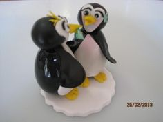 Penguin pair cake topper, 100 percent edible confectionery by Tania Riley, Johannesburg, South Africa. 0829316200