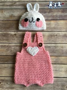 Newborn Baby Crochet Rabbit Hat and Overalls Set Baby Girl Crochet, Crochet Baby Clothes, Newborn Crochet, Crochet For Kids, Crochet Baby Outfits, Baby Knitting Patterns, Baby Patterns, Crochet Patterns, Crochet Baby Costumes