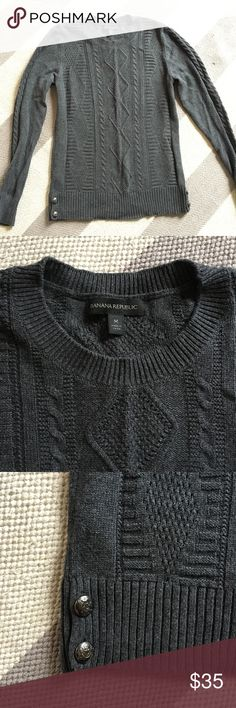 Euc banana republic cable crewneck w/ button sides Worn once! Beautiful cable in dark gray with side buttons! Smoke free home with pets. Banana Republic Sweaters Crew & Scoop Necks