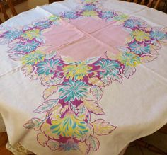 Vintage Linen Table Cloth Big Flowers Pink Teal Purple 52 x 46 Cottage Chic Cottage Shabby