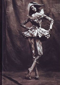 'Fowl Feather Friends', Mariacarla Boscono by Phil Poynter, POP Winter John Galliano for Christian Dior Fall Winter 2007 Haute Couture John Galliano, Christian Dior, Circus Aesthetic, Circus Fashion, Pierrot Clown, Dark Circus, Court Jester, Vintage Clown, Send In The Clowns