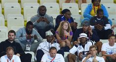 US men's olympic basketball team watches swimming at aquatics center. Loved watching KD and Harden cheer on Michael Phelps!