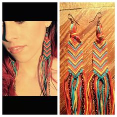 "Burnt Sky ""Fringe""ship Earrings by Hawk Couture...I added chains to the fringe on all of the ""Fringe""ship Earrings and am loving the addition!!"