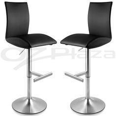 X PU Leather BAR Stool Kitchen Chair Brushed Nickel High Back Black