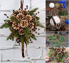 Quick and Easy Pinecone Fall Decor Ideas Christmas Advent Wreath, Christmas Gift Decorations, Christmas Swags, Holiday Ornaments, Christmas Time, Pinecone Ornaments, Fall Crafts, Holiday Crafts, Pine Cone Decorations