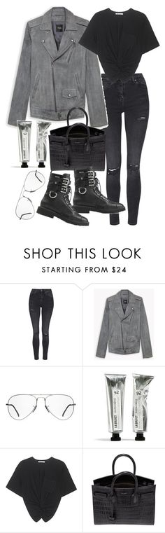 """""""Untitled #20330"""" by florencia95 ❤ liked on Polyvore featuring Topshop, Ray-Ban, T By Alexander Wang, Yves Saint Laurent and Giuseppe Zanotti"""