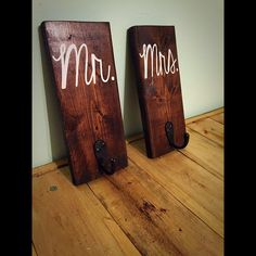 His and Hers towel hooks Mr and Mrs towel by palletinspirations