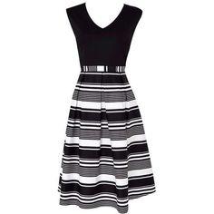 Stripe Skirt Monochrome Dress ($66) ❤ liked on Polyvore featuring dresses, monochrome dress, stripe dresses and striped dress
