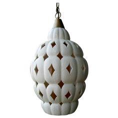 Vintage Ceramic Beehive Design Hangling Light. Top of stairs landing?