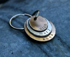 Custom Stamped Keychain - A Rustic Family in Bronze and Brushed Nickel.