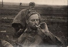 German soldiers smokes.