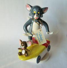Tom et Jerry boîte à musique Vintage Metro Goldwyn Mayer Gorham Skateboard porcelaine figure Figurine en céramique Cartoon caractère chat souris musicale