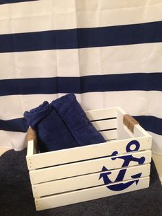 Riviera Gold- Riviera Gold Anchor storage crate with rope handles by - Nautical Nursery Decor, Nautical Home, Nautical Baby, Anchor Bathroom, Nautical Bathrooms, Decorative Storage Boxes, Crate Storage, Summer Deco, Beach Crafts