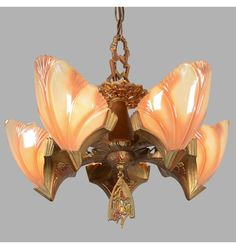 "5-Light ""Princess"" Fixture w/Batwing Shades, c1932"