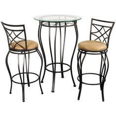 Home Source Industries Three Piece Pub Table Set in Galaxy Bronze