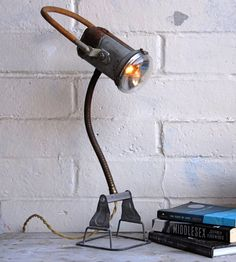 Vintage Railroad Lantern Desk Lamp