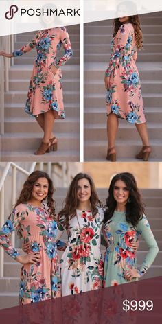 """Infinity Raine Peach floral print dress This dress is GORGEOUS! Peach material with floral print makes this perfect for spring! Bust width: S 16"""", M 17"""", L 18"""" Length S 38/43"""", M 39/44"""", L 40/45"""" Infinity Raine Dresses Midi"""