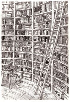 Quiet Corner, 2009 © Stuart MCGRORY (Artist, UK) aka dadhorror via deviantart. Bet you could read every book title in this wonderful curvy library! The law requires you to credit the artist. I Love Books, Books To Read, My Books, Library Drawing, World Of Books, Deviantart, Book Nooks, Traditional Art, Book Lovers
