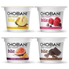 "Chobani ""Bite"" -- new snack-sized Greek yogurt in bold flavors, including pineapple caramel and coffee dark chocolate"