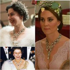 This fabulous Ruby & Diamond floral bandeau necklace has been loaned to Catherine for the state banquet by HM The Queen, The necklace was given to Queen Elizabeth by her parents as wedding present, it was originally owned by the Queen Mother who's friend Margaret Greville bought it in 1907 from jeweller Boucheron. The intricate piece is set in silver and gold and features several sizeable rubies #KateMiddleton via ✨ @padgram ✨(http://dl.padgram.com)
