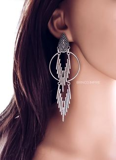 Brinco Impire Ear Jewelry, Rose Gold Jewelry, High Jewelry, Ethnic Jewelry, Indian Jewelry, Jewelery, Jewelry Making, Tribal Earrings, Women's Earrings