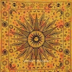 Large Yellow Celestial Psychedelic Sun Moon Wall Tapestry Throw Dorm Bedding