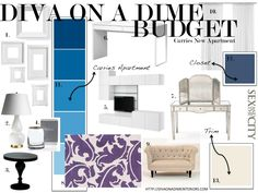 Get Carrie Bradshaws apartment LOOK on Diva On A Dime Interiors.  http://divaonadimeinteriors.com/