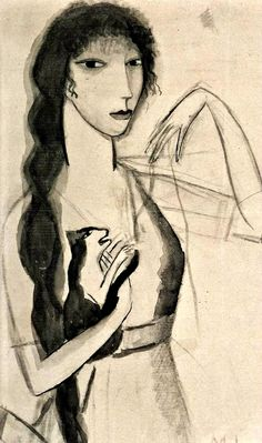 Marie Laurencin (French, 1883 - 1956) - Self portrait with cat, 1912
