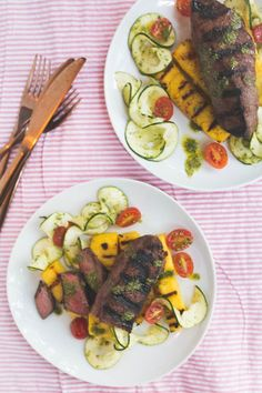 Grilled Truffle Steak with Polenta Cakes and Zucchini Salad gives polenta a…