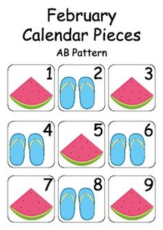 February / Summer Calendar Pieces - For Calendar Math & Numeracy Wall.This is a great a idea to help little with counting and learning about days of the month.I would use this like an assignment for a child and make them create one of their own. Summer Calendar, February Calendar, Calendar Time, Preschool Calendar, Classroom Calendar, Classroom Themes, Calander Printable, Math Bulletin Boards, Calendar Numbers