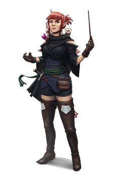 Female Half-Elf Wizard with weasel familiar - Pathfinder PFRPG DND D&D 3.5 5th ed d20 fantasy