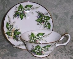 Lily of the Valley English Tea Cup and Saucer ~ Sheltonian Bone China from England Set of 2 $59.99