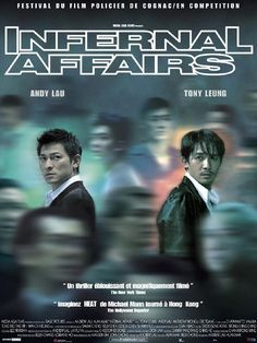 Andy Lau and Tony Leung (Infernal Affairs) Hk Movie, Hong Kong Movie, Movie Film, Andy Lau, Jonathan Pryce, Anthony Hopkins, Martin Scorsese, Great Films, Good Movies