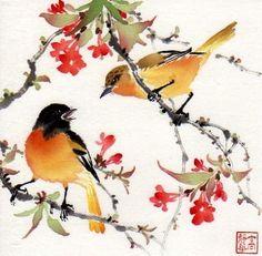 Chinese brush painting watercolor bird art Jinghua Gao Dalia - Brush Magic