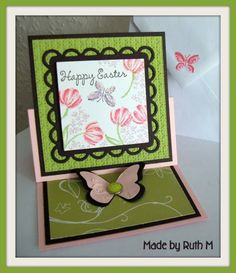 Mini Tulips Easter Easel Card by FubsyRuth - Cards and Paper Crafts at Splitcoaststampers