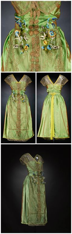 Evening dress, by Lucile Ltd, Paris, c. 1918-20. Silk, gold-embroidered net, satin binding, silk flowers. Collection of National Museums Scotland.