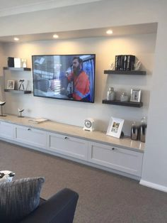 52 amazing living room designs with floating shelves 25 living room ideas living room ideas room ideas turquoise living room ideas room ideas apartment Living Room Built Ins, Living Room Tv, Home And Living, Tv Wall Ideas Living Room, Small Living, Living Room Cabinets, Coastal Living, Living Area, Basement Family Rooms