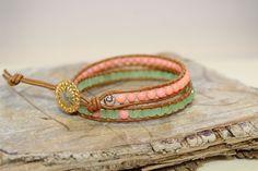 Minty Pink wrap bracelet